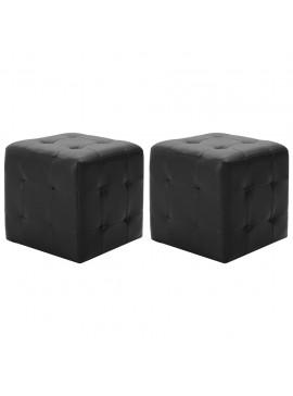 Σκαμπό Πουφ 2 τεμ. Μαύρα 30 x 30 x 30 εκ. από Συνθετικό Δέρμα  278390