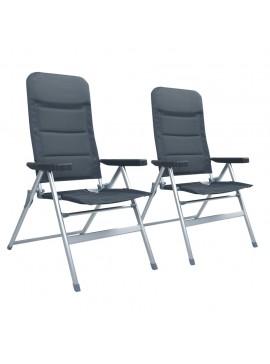 Καρέκλες Κήπου Ανακλινόμενες 2 τεμ. Γκρι Αλουμινίου  47741