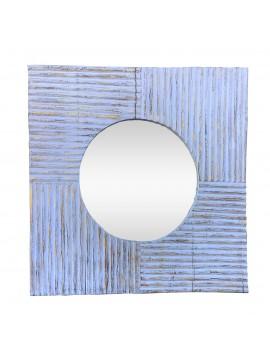 Καθρέπτης Ξύλινος 120x120 Aντικέ Aσπρο Xρώμα. Xειροποίητος AB-AB046