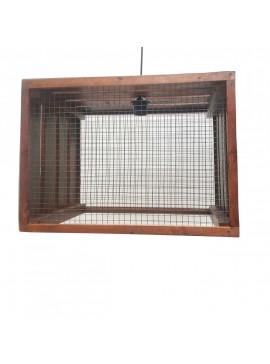Φωτιστικό Κρεμαστό Ξύλινο χειροποίητο με Σύρμα, με 1 λάμπα Ε-27, 50x35x35 εκ, Χρώμα Φυσικό, AB-AB2009