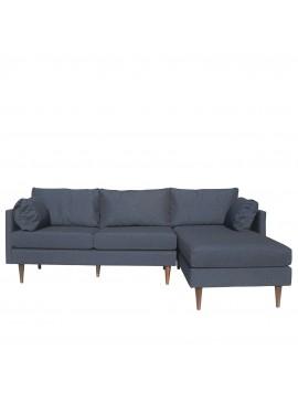 Γωνιακός Καναπές Pathe, Μπλέ  χρώμα  225x150x85  με Ξύλινα πόδια και Αναστρέψιμη γωνία ADAM-PATHE