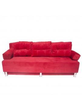 Καναπές-Κρεβάτι Ksenia, Κόκκινο Βελούδο με Αποθηκευτικό χώρο 190x72x80, Διαστάσεις Κρεβατιού120x190,   ADAM-SOH01
