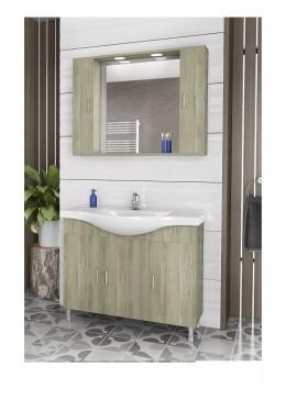 Drop Alba 100 ELM WOOD / 2  Έπιπλο μπάνιου με καθρέπτη 2  αποθηκευτικοί  χώροι