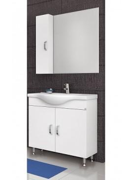 Drop Alba 80 Λευκό Ολοκληρωμένη Σύνθεση Μπάνιου Πάγκος-Καθρέπτης-Νιπτήρας-Ντουλάπι Νο2