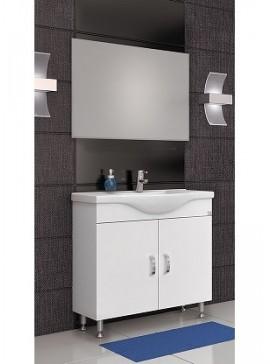 Drop Alba 80 Λευκό 03  Έπιπλο μπάνιου με καθρέπτη χωρίς ντουλάπια