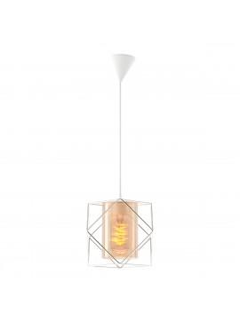 Φωτιστικό Κρεμαστό Inox Μονόφωτο Μεταλλικό με γυαλί E27 20*20*65cm FL-1760-1INOX