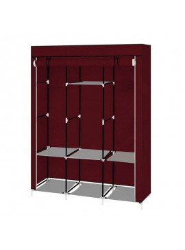 Φορητή Υφασμάτινη Ντουλάπα με Μεταλλικό Σκελετό 130 x 45 x 170 cm Χρώματος Κόκκινο Hoppline HOP1000701-3  HOP1000701-3