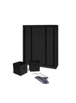 Φορητή Υφασμάτινη Ντουλάπα με Μεταλλικό Σκελετό 135 x 45 x 175 cm Χρώματος Μαύρο SPM 10010074  10010074