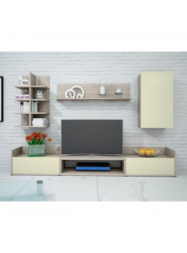 KALISTO Σύνθεση TV 4 τεμ. 200x40x160cm Χρώμα Sonoma-Εκρού IR-KALISTO