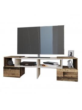 Έπιπλο τηλεόρασης ORNE, Καφέ με Λευκό, 141x32x39. IR-ORNETV