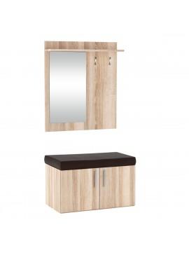 FLORIDA Set Εισόδου με καθρέφτη 70x57x128, χρώμα Sonoma. KO-FLORIDASONOMA