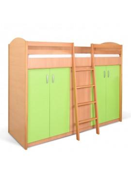 Κρεβάτι Υπερυψωμένο Με Ντουλάπα Bambi K2 ORM Οξια-Πράσινο 206x96x173cm