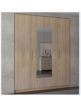ΝΤΟΥΛΑΠΑ 4ΦΥΛΛΗ με καθρέφτη LATTE(182x220x60) cm ΣΑΒΒΙΔΗΣ ΜΑΖΙ  ΜΕ  ΑΜΠΑΛAZ