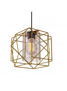 Κρεμαστό Φωτιστικό Multi Mονόφωτο Χρυσό με Γυαλί Μεταλλικό Ε27 25*25*70cm  MEC-1769F1GOLD