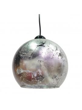 Φωτιστικό Γυάλινο, σε σχήμα μπάλα με Ασημένιο φύλλο, διάμετρος 19cm. MEC-1910-28