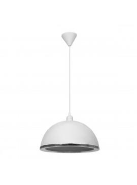 Φωτιστικό Κρεμαστό Μονόφωτο Λευκό με inox Πλαστικό Ε27 32*32*70Cm MEC-222BMTWHITE