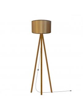 Φωτιστικό Δαπέδου Χρώμα Καφέ, με υφασμάτινο καπέλο και ξύλινη βάση σε Χρώμα καφέ, 40x150. MEC-2710-1BROWN