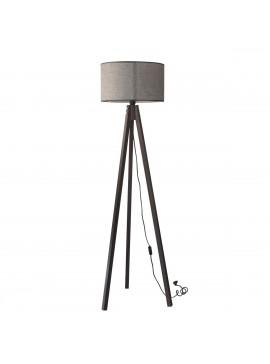 Φωτιστικό Δαπέδου Χρώμα Γκρί, με υφασμάτινο καπέλο και ξύλινη βάση σε Χρώμα Βέγκε. MEC-2711-1GREY