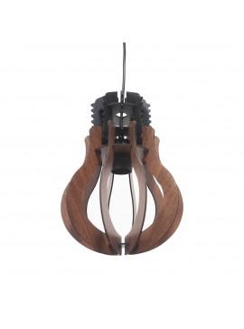 Φωτιστικό Κρεμαστό Ξύλινο Μονόφωτο Καφέ Γλόμπος E27 27*27*70cm MEC-4072401BROWN