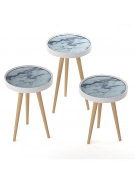 ΣΕΤ 3 τεμ. Τραπεζάκια Marble με Ξύλινα πόδια, Διάμ. 39 εκ.,Υψος 60,53,48 εκ MEC-M15-10