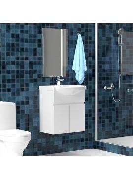 Σετ Μπάνιου, Bianca, Κρεμαστό έπιπλο με νιπτήρα και καθρέπτη, SET-BIANCA65