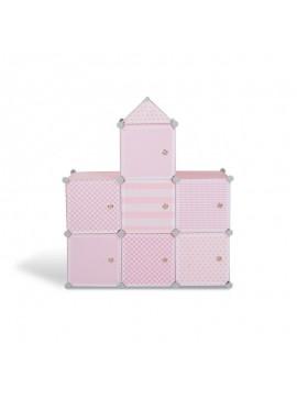 Σύστημα Αποθήκευσης - Ντουλάπα με 7 Κύβους 94.5 x 32 x 109 cm Χρώματος Ροζ Idomya 30012234  30012234