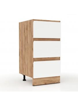 Επιδαπέδια συρταριέρα Soft Λευκό με βελανιδιά Διαστάσεις 40x46,5x81,5εκ SO-SD403S