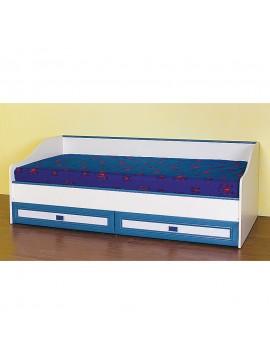 Κρεβάτι Twins 1 με ανατομικό σομιέ με μεταλλικό σκελετό καμπυλωτά ξύλα οξιάς, Δέχεται στρώμα 80x190 (το στρώμα δεν περιλαμβάνεται), Mπέζ/Βανίλια-Μπλέ, με 2 συρτάρια SO-TWINS1