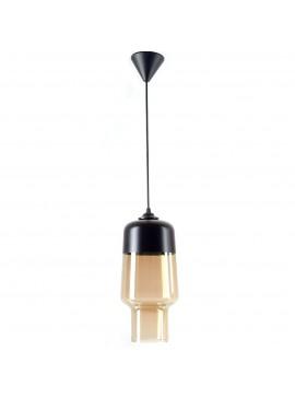 Κρεμαστό Φωτιστικό Μονόφωτο Γυαλί black glamour 2 Μαύρο Μελί Ε27 Φ15x70εκ TA-82632