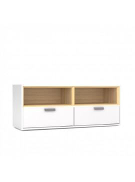 Arte TV 120. 4x40x50, Λευκό Σονόμα, Με 2 συρτάρια και 2 ράφια. TO-ART2N2SWH