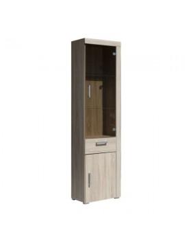 Damis Βιτρίνα 50.5x35x203εκ Σονόμα Γυάλινη πόρτα και Συρτάρι MDF Διακόσμηση TO-DAM1D1W1S