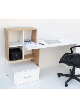 Γραφείο 149x50x105, Λευκό - με Φυσικό, Μοντέρνα Σχεδίαση με Συρτάρι και Ράφια TO-DESKHO1S