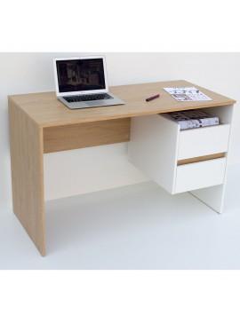 Γραφείο 120x55x75, Λευκό - με Φυσικό, Μοντέρνα Σχεδίαση με Συρτάρια TO-DESKHO2S