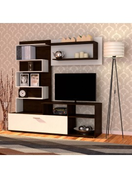 Σύνθεση TV Jasmin 170x41. 5x170, Wenge(Σοκολά)-Λευκό TO-JASMIN