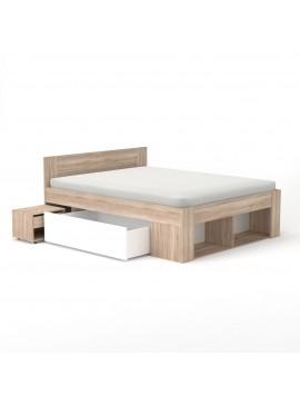 Rico Κρεβάτι 160x200 Διπλό, Με 2 κομοδίνα, 2 συρτάρια και τάβλες TO-RIC160