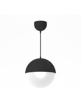 Φωτιστικό κρεμαστό μεταλλικό, κατασκευασμένο με τεχνοτροπία λευκού τσιμεντοχρώματος-πέτρα και μαύρο καλώδιο, μονόφωτο,διάμετρος 25εκ.TOP-9010-1