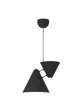 Φωτιστικό κρεμαστό μεταλλικό, Μαύρο ματ-Άσπρο (με inox λεπτομέρειες) και γκρι υφασμάτινο καλώδιο, μονόφωτο.TOP-9014-1