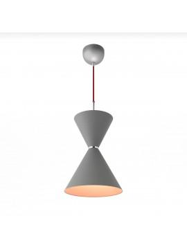 Φωτιστικό κρεμαστό, χρώμα Σίδηρος-Χαλκός με κόκκινο υφασμάτινο καλώδιο,διάμετρος 22 εκ.TOP-9015-1