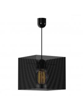Φωτιστικό Κρεμαστό Τετράγωνο Μεταλλικό Διάτρητο Μαύρο Μονόφωτο Ε27 Φ24*80εκ TOP-914-1