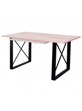 Τραπέζι Σαντορίνη 140+(40)x90, Σονόμα-Καφέ Μεταλλικά πόδια, Επεκτεινόμενο TOP-SANTORIN