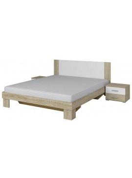 Κρεβάτι με 2 κομοδίνα Veron-160Χ200-Λευκό/Φυσικό  Kωδ 16146809 Μήκος 166.00 Βάθος 205.00 Ύψος 85.00