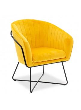 Πολυθρόνα Hollis pakoworld βελούδο κίτρινο 67x64x82εκ 002-000014