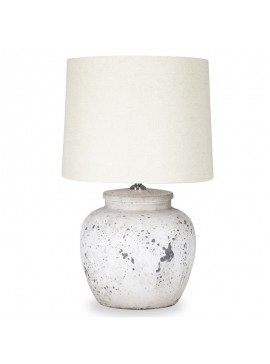 Επιτραπέζιο ασπρόμαυρο κεραμικό φωτιστικό PWL-0002 pakoworld Ε27 μπεζ καπέλο Φ28x48,5εκ 009-000033