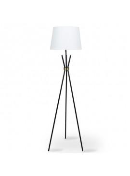 Μεταλλικό μαύρο ματ-μπρονζέ φωτιστικό δαπέδου PWL-0003 pakoworld E27 λευκό καπέλο Φ33-38x161εκ 009-000034
