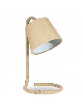 Επιτραπέζιο μεταλλικό φωτιστικό PWL-0009 pakoworld με σχοινί-καπέλο λινάτσας Φ25x43εκ 009-000043