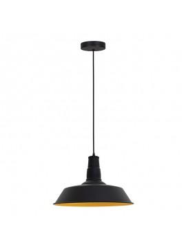 Κρεμαστό μεταλλικό φωτιστικό οροφής PWL-0019 pakoworld Ε27 μαύρο ματ χρώμα Φ36x29εκ 009-000056