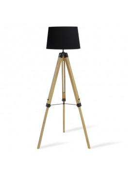 Ρυθμιζόμενο φωτιστικό δαπέδου PWL-0008 pakoworld E27 φυσικό ξύλο-καπέλο μαύρο Φ34-41x65x145εκ 009-000058