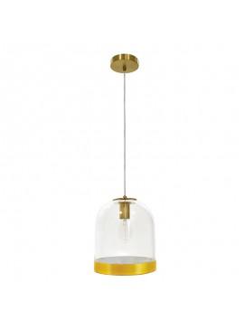 Κρεμαστό γυάλινο φωτιστικό οροφής PWL-0029 pakoworld λεπτομέρειες σε χρυσό Φ25x30εκ 009-000070