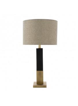 Επιτραπέζιο μεταλλικό φωτιστικό PWL-0940 pakoworld Ε27 μπρονζέ-μαύρο-γκρι καπέλο 36x36x53εκ 009-000086