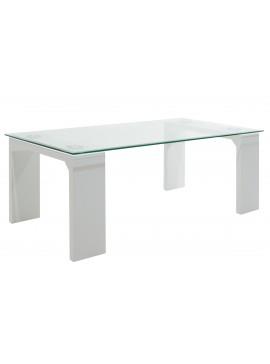 Τραπέζι σαλονιού Glass Line pakoworld γυαλί χρώμα ποδιών λευκό 100x60x42,5εκ 011-000027